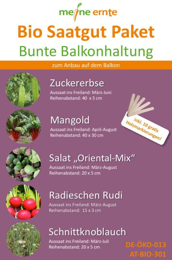 Bio Saatgut Paket Bunte Balkonhaltung