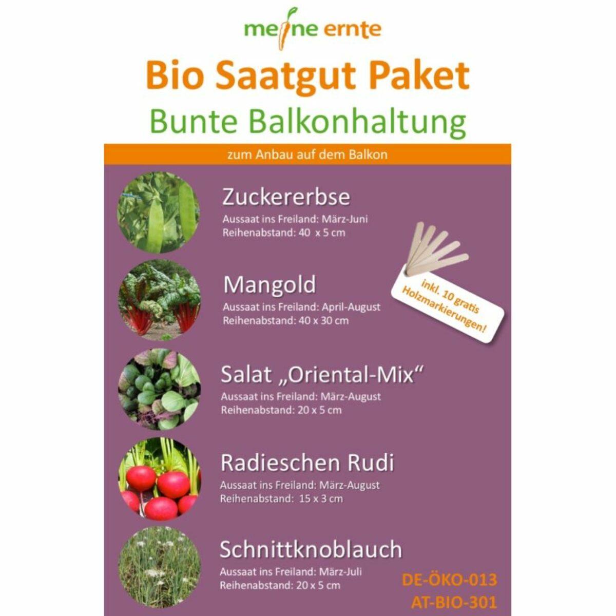 Bio Saatgut Paket Bunte Balkonhaltung incl. 8 gratis Holzmarkierungen